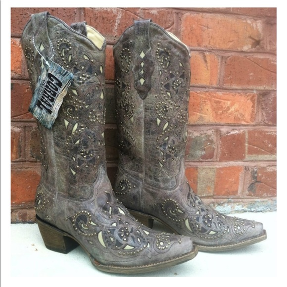519456ace9a Women's Corral Brown Studded Cowgirl Boots NWT